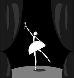 Dark scene and white abstract ballet dancer vector