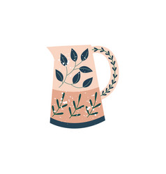 Decorative kitchen ceramic pitcher in flat cartoon vector