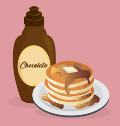 delicious pudding with syrup bottle sweet menu vector image