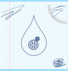 Drop with gears line sketch icon isolated on white vector