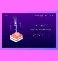 e-learning concept - modern isometric web vector image