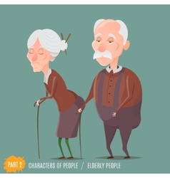 Elderly woman and man walking with sticks vector