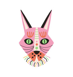 Ethnic african tribal mask pink ritual symbol vector