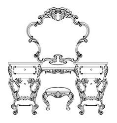 Fabulous baroque console table and mirror frame vector