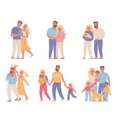 family stages love couple relationship marriage vector image
