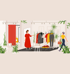 fashion clothes store boutique or shop with vector image