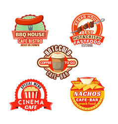 Fast food meal snacks icons set vector