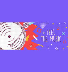feel music retro colorful banner concept vector image