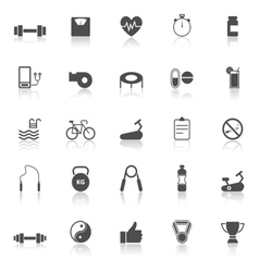 Fitness icons with reflect on white background vector image