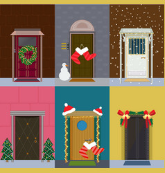 Flat christmas entrance doors set vector