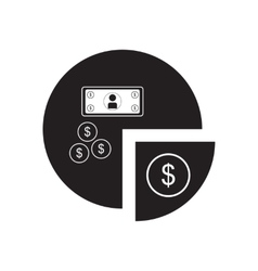 Flat icon in black and white financial chart vector image
