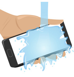 Flat waterproof phone in man hand under the water vector