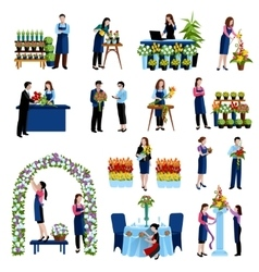 Florists arranging flowers flat icons set vector