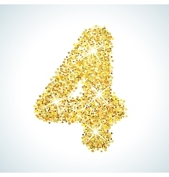 Four number in golden style vector