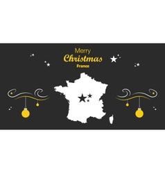 France Merry Christmas Map black vector
