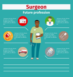 future profession surgeon infographic vector image vector image