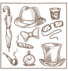 Gentleman clothes and men club accessories vector