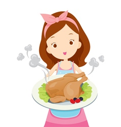 Girl showing roast chicken on dish vector