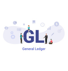 Gl general ledger concept with big word or text vector
