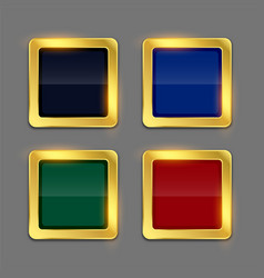 Golden shiny frame button in four colors set vector