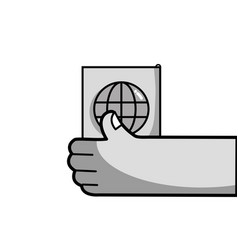 Grayscale hand with passport to travel document id vector