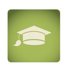 Green emblem graduation hat icon vector