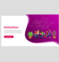 hackathon concept team programming for website vector image