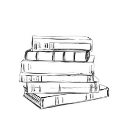 Hand drawing a pile of books sketching vector