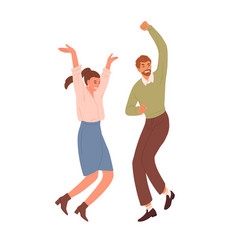 Happy people jumping and dancing from joy vector