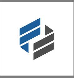 hexagon initial ff logo design vector image