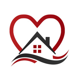 House real estate with heart icon vector