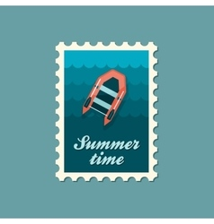 Inflatable boat flat stamp vector