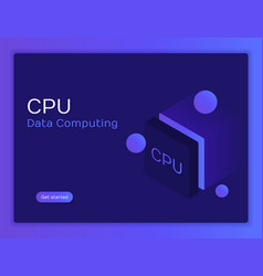 Isometric flat cpu gpu processor chip vector