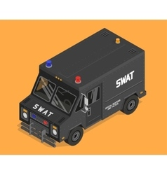 Isometric swat van police military vector