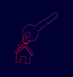 key with keychain as an house sign line vector image