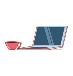 laptop computer with cup coffee vector image