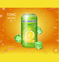 Lemon soft drink advertising lemonade can ads vector