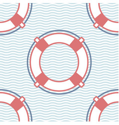 Lifebuoy marine seamless pattern vector
