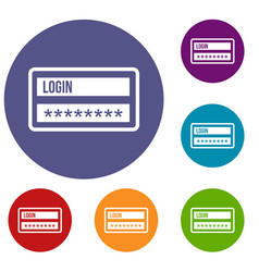 Login and password icons set vector