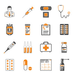Medical two color icons set vector