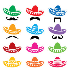Mexican sombrero hat with moustache or mustache ve vector