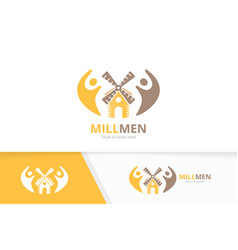 Mill and people logo combination farm and vector