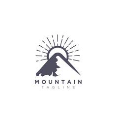 Mountain design with sun in a minimalist vector
