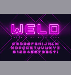 Neon industrial style display typeface vector