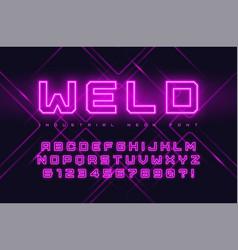 Neon industrial style display typeface vector