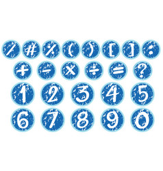Numbers and signs on blue badges vector