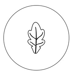 oak leaf icon black color in circle isolated vector image