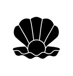 Open clam with pearl black glyph icon vector