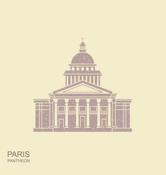 pantheon in paris france landmark icon in retro vector image