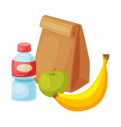 Paper bag package with healthy breakfast plastic vector
